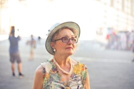 Older lady with cataracts wearing glasses