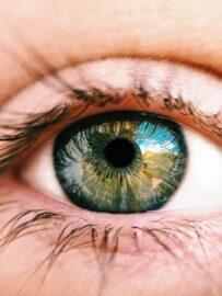 Close up of a woman's hazel eyes