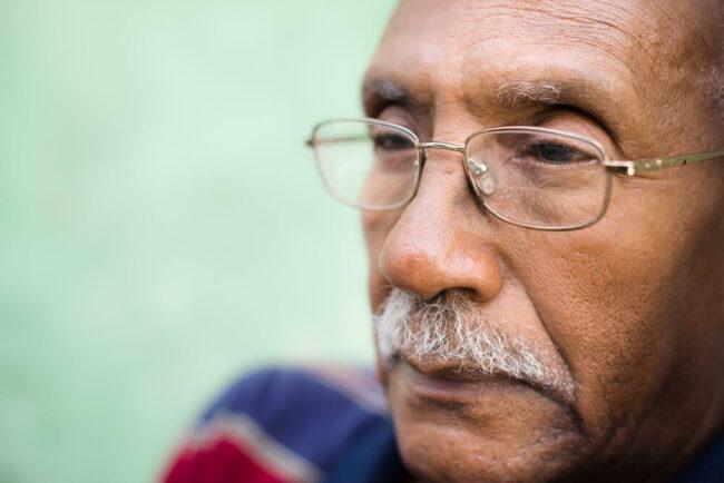 Senior man with serious face