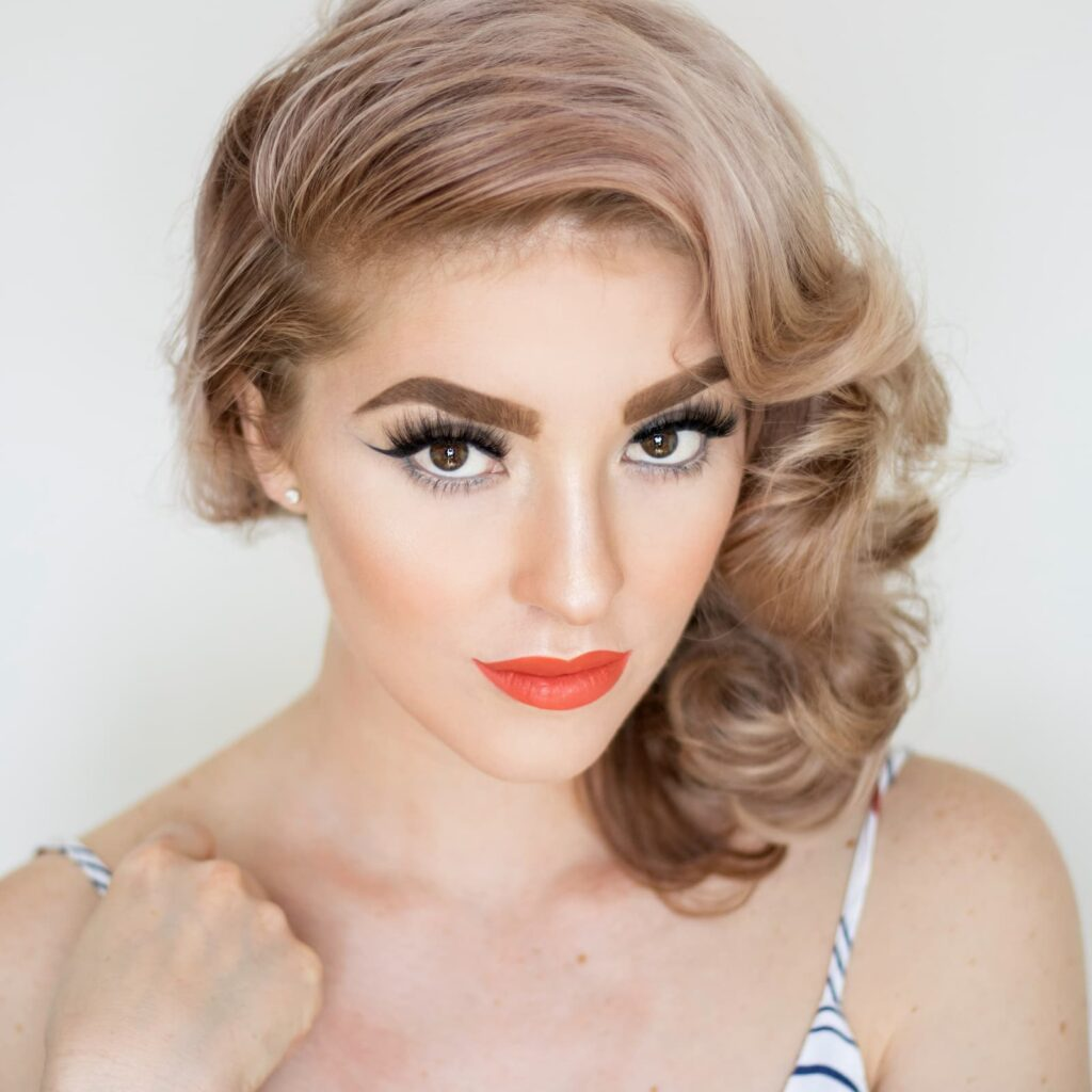 Photo of blonde woman with eyelash extensions